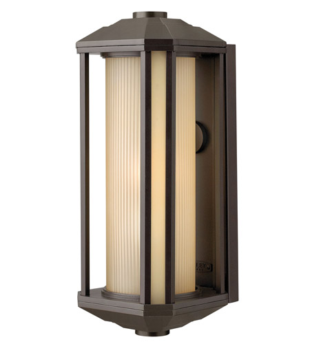 Hinkley 1395BZ-GU24 Castelle 1 Light 18 inch Bronze Outdoor Wall in Amber Etched, GU24, Ribbed Etched Glass photo