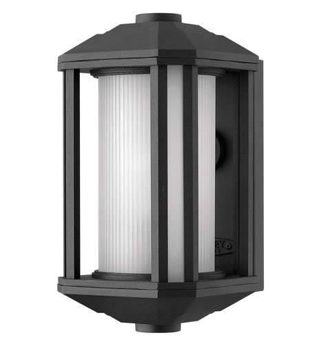 Hinkley 1396BK-GU24 Castelle 1 Light 12 inch Black Outdoor Wall in Ribbed Etched, GU24, Ribbed Etched Glass photo