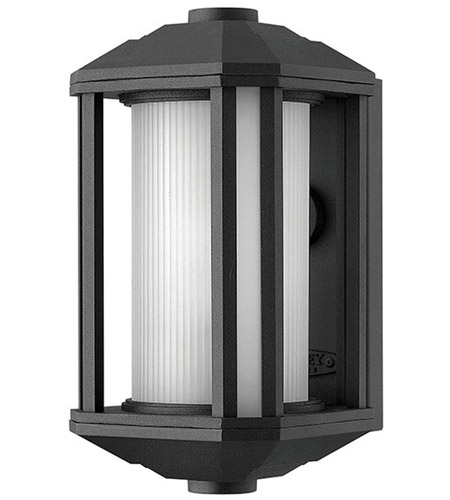 Hinkley 1396BK Castelle 1 Light 12 inch Black Outdoor Wall Lantern in Ribbed Etched, Incandescent photo