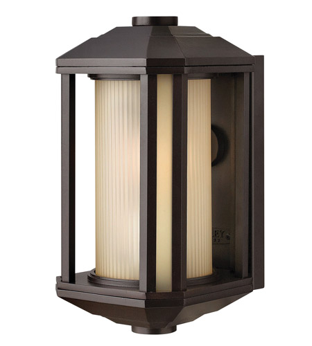 Hinkley 1396BZ-LED Castelle LED 12 inch Bronze Outdoor Mini Wall Mount, Ribbed Etched Amber Cylinder Glass photo