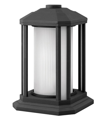 Hinkley 1397BK-GU24 Castelle 1 Light 13 inch Black Pier Mount Lantern in Ribbed Etched, GU24, Ribbed Etched Glass photo