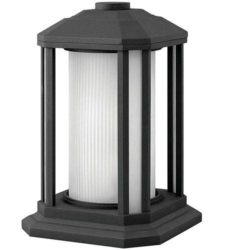 Hinkley 1397BK Castelle 1 Light 13 inch Black Pier Mount Lantern in Ribbed Etched, Incandescent photo