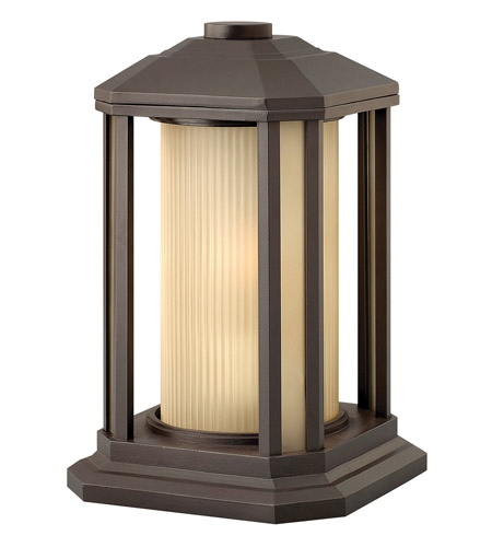 Hinkley 1397BZ-GU24 Castelle 1 Light 13 inch Bronze Pier Mount Lantern in Ribbed Etched, GU24, Ribbed Etched Glass photo