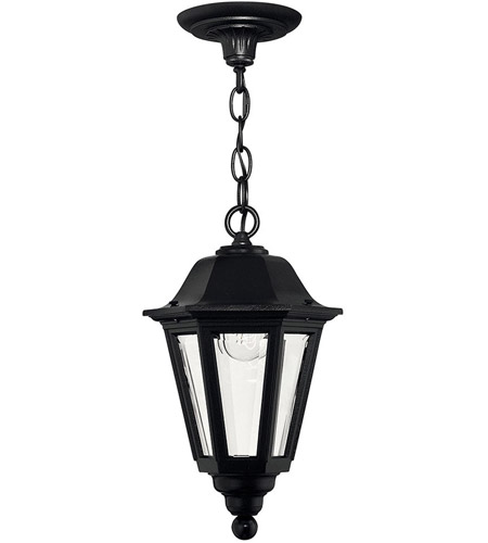 Hinkley 1412BK Manor House 1 Light 9 Inch Black Outdoor Hanging Lantern,  Clear Beveled Glass