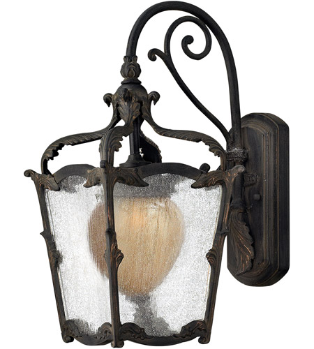 Hinkley 1420AI Sorrento 1 Light 17 inch Aged Iron Outdoor Wall Mount in Clear Seedy and Optic Etched Amber photo