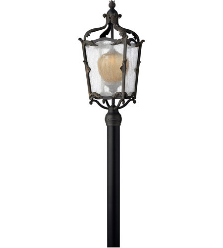 Hinkley 1421AI Sorrento 1 Light 29 inch Aged Iron Outdoor Post Mount in Clear Seedy and Optic Etched Amber, Post Sold Separately photo