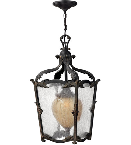 Hinkley 1422AI Sorrento 1 Light 12 inch Aged Iron Outdoor Hanging Light in Clear Seedy and Optic Etched Amber photo