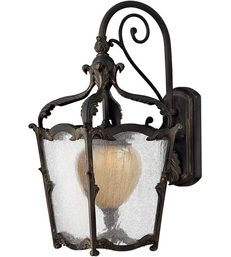 Hinkley 1424AI Sorrento 1 Light 21 inch Aged Iron Outdoor Wall Mount in Clear Seedy and Optic Etched Amber photo