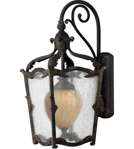 Hinkley 1425AI Sorrento 1 Light 27 inch Aged Iron Outdoor Wall Mount in Clear Seedy and Optic Etched Amber photo
