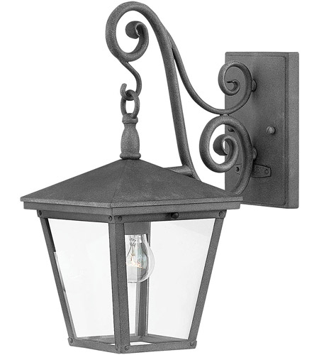 Hinkley 1430DZ Trellis 1 Light 15 inch Aged Zinc Outdoor Wall Mount in Incandescent, Small photo
