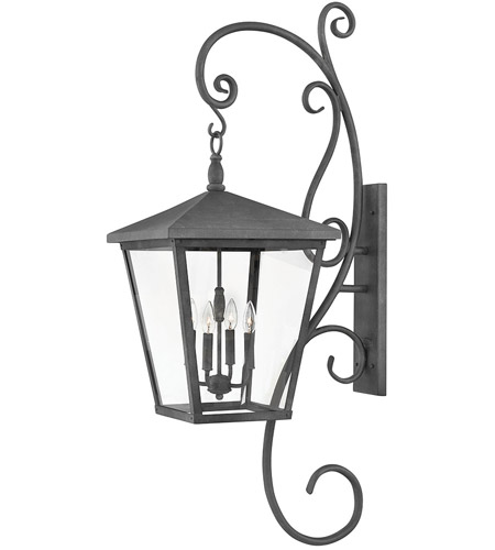 Hinkley 1439DZ Trellis 4 Light 52 inch Aged Zinc Outdoor Wall Mount in Candelabra, Extra Large photo