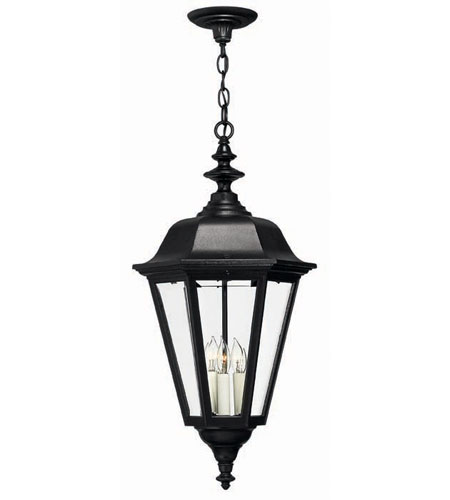 Hinkley Lighting Manor House 3 Light Outdoor Hanging Lantern in Black 1472BK