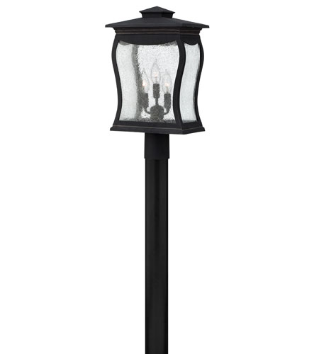 Hinkley 1487MB Richmond 3 Light 19 inch Museum Black Post Lantern, Seedy Glass, Post Sold Separately photo