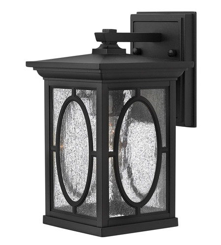 Hinkley 1490BK-LED Randolph 1 Light 11 inch Black Outdoor Wall Lantern in LED, Clear Seedy and Etched Seedy Glass Panels photo