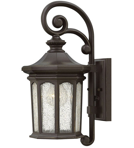 Hinkley 1600OZ Raley 1 Light 17 inch Oil Rubbed Bronze Outdoor Wall Mount, Clear Water Glass Panels photo