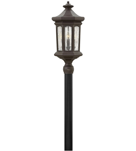 Hinkley 1601OZ Raley 4 Light 26 inch Oil Rubbed Bronze Outdoor Post Mount in Candelabra, Clear Water Glass Panels photo