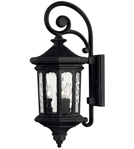 Hinkley Lighting Raley 3 Light Outdoor Wall Lantern in Museum Black 1604MB
