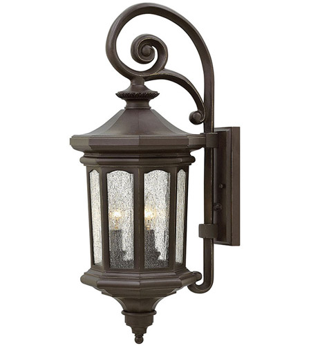 Hinkley 1604OZ Raley 3 Light 26 inch Oil Rubbed Bronze Outdoor Wall Mount in Candelabra, Clear Water Glass Panels photo