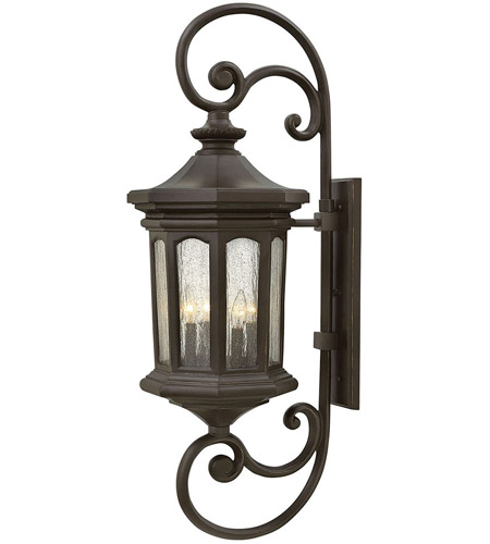 Hinkley 1609OZ Raley 4 Light 42 inch Oil Rubbed Bronze Outdoor Wall Mount, Clear Water Glass Panels photo