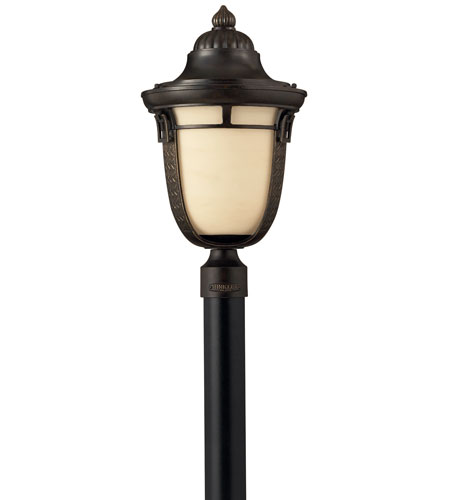 Hinkley 1611RB-GU24 Key West 1 Light 21 inch Regency Bronze Post Lantern, Antique Vanilla Glass  photo