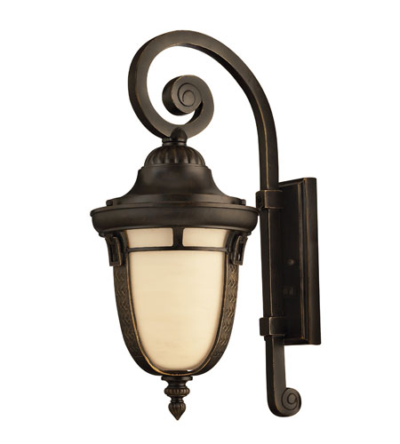 Hinkley 1614RB-GU24 Key West 1 Light 21 inch Regency Bronze Outdoor Wall, Antique Vanilla Glass  photo