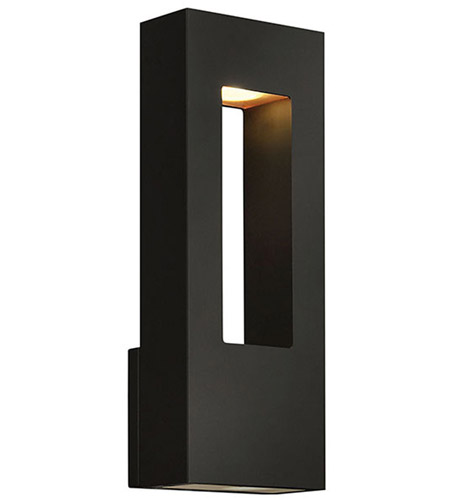 Hinkley 1648SK Atlantis 2 Light 16 inch Satin Black Outdoor Wall Lantern in Incandescent photo