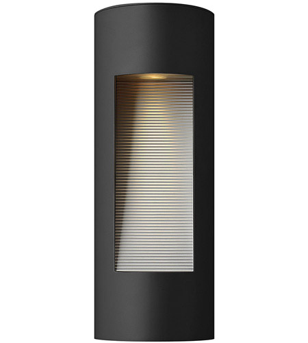 Hinkley 1660SK Luna 2 Light 16 inch Satin Black Outdoor Wall Lantern in Etched Lens, Incandescent photo