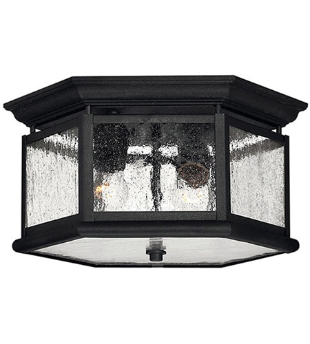 Hinkley Lighting Edgewater 2 Light Outdoor Flush Lantern in Black 1683BK
