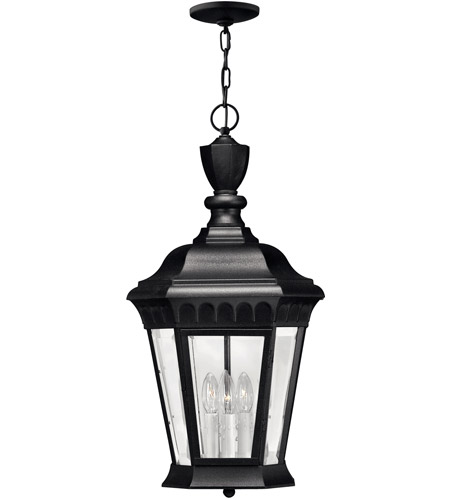 Hinkley 1702BK-LED Camelot 1 Light 12 inch Black Outdoor Hanging in LED, Clear Beveled Glass photo