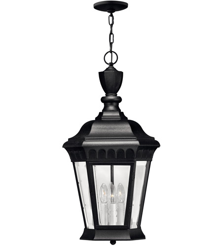 Hinkley Lighting Camelot 3 Light Outdoor Hanging Lantern in Black 1702BK