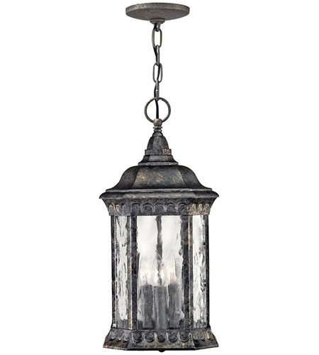 Hinkley Lighting Regal 3 Light Outdoor Hanging Lantern in Black Granite 1722BG photo
