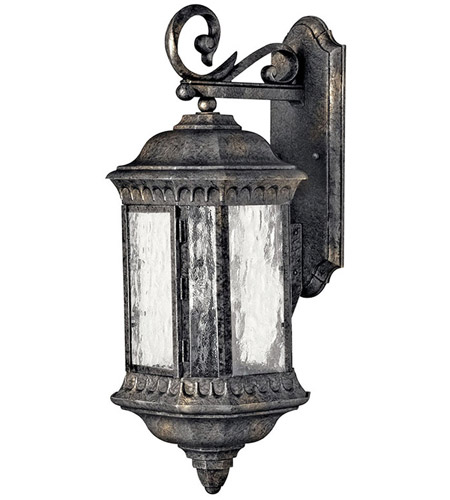 Hinkley Lighting Regal 3 Light Outdoor Wall Lantern in Black Granite 1725BG