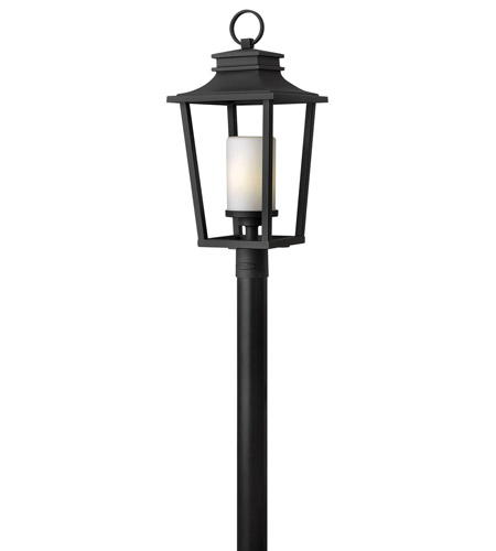 Hinkley 1741BK-GU24 Sullivan 1 Light 26 inch Black Post Lantern in GU24, Etched Opal Glass photo