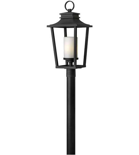Hinkley 1741BK Sullivan 1 Light 26 inch Black Outdoor Post Mount in Incandescent, Post Sold Separately, Etched Opal Glass photo