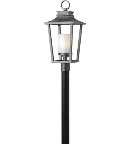 Hinkley 1741HE Sullivan 1 Light 26 inch Hematite Outdoor Post Mount in Incandescent, Post Sold Separately, Etched Opal Glass photo