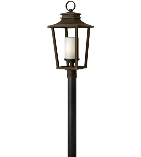 Hinkley 1741OZ Sullivan 1 Light 26 inch Oil Rubbed Bronze Outdoor Post Mount, Etched Opal Glass photo