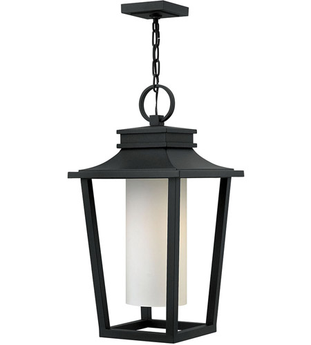 Hinkley 1742BK Sullivan 1 Light 12 inch Black Outdoor Hanging Lantern in Incandescent, Etched Opal Glass photo