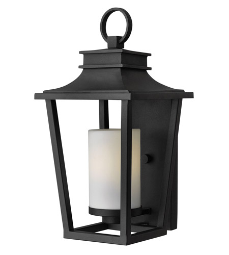 Hinkley 1744BK-GU24 Sullivan 1 Light 18 inch Black Outdoor Wall in GU24, Etched Opal Glass photo