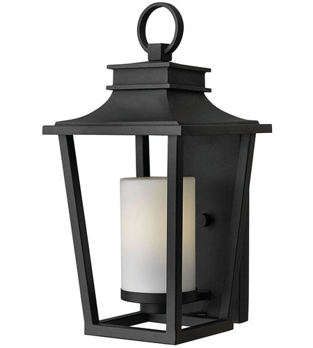 Hinkley 1744BK Sullivan 1 Light 18 inch Black Outdoor Wall Mount in Incandescent, Etched Opal Glass photo