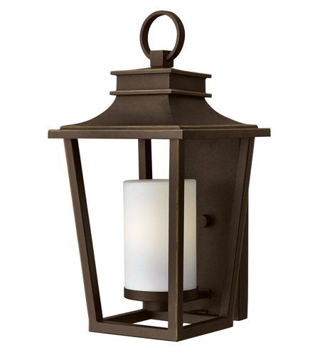 Hinkley 1744OZ-GU24 Sullivan 1 Light 18 inch Oil Rubbed Bronze Outdoor Wall Lantern in GU24, Etched Opal Glass photo