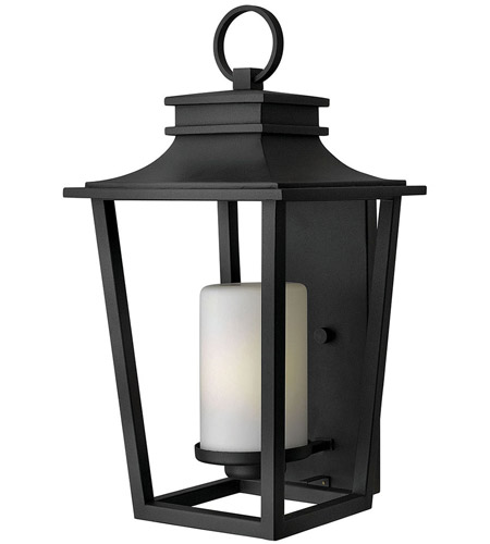 Hinkley 1745BK Sullivan 1 Light 23 inch Black Outdoor Wall Mount in Incandescent, Etched Opal Glass photo