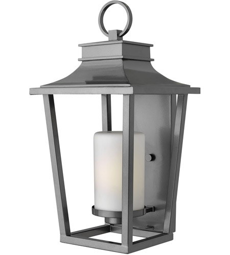 Hinkley 1745HE Sullivan 1 Light 23 inch Hematite Outdoor Wall Lantern in Incandescent, Etched Opal Glass photo