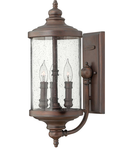 Hinkley 1750VZ Barrington 3 Light 20 inch Victorian Bronze Outdoor Wall Mount, Clear Seedy Glass photo