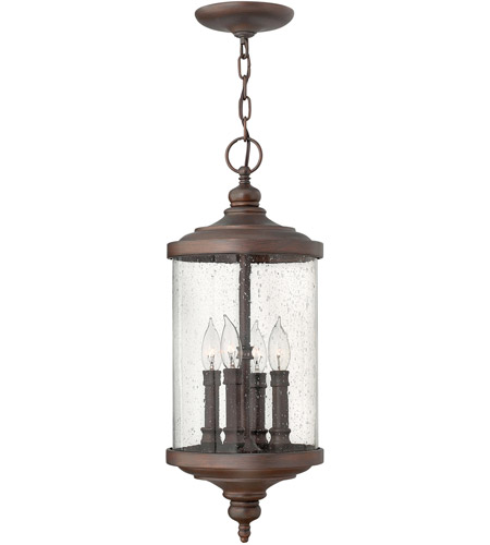 Hinkley 1752VZ Barrington 4 Light 9 inch Victorian Bronze Outdoor Hanging Lantern, Clear Seedy Glass photo