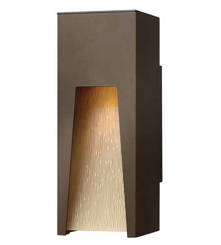Hinkley 1760BZ Kube 1 Light 12 inch Bronze Outdoor Wall Lantern in Amber Etched Organic Rain, Incandescent photo