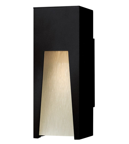 Hinkley 1760SK Kube 1 Light 12 inch Satin Black Outdoor Wall Lantern in Clear Etched Organic Rain, Incandescent photo