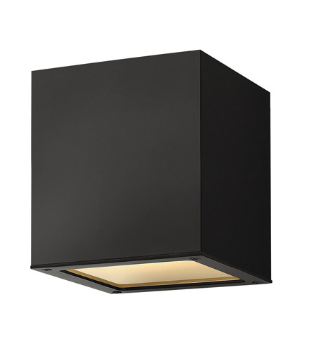 Hinkley Lighting Kube 1 Light GU24 CFL Outdoor Ceiling in Satin Black 1763SK-GU24