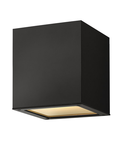Hinkley Lighting Kube 1 Light Outdoor Ceiling Lantern in Satin Black 1763SK-LED