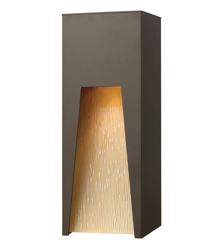 Hinkley 1764BZ-LED Kube 1 Light 16 inch Bronze Outdoor Wall in Amber Etched Organic Rain, LED photo