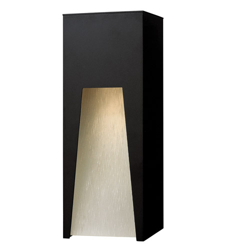 Hinkley 1764SK-LED Kube 1 Light 16 inch Satin Black Outdoor Wall in Clear Etched Organic Rain, LED photo